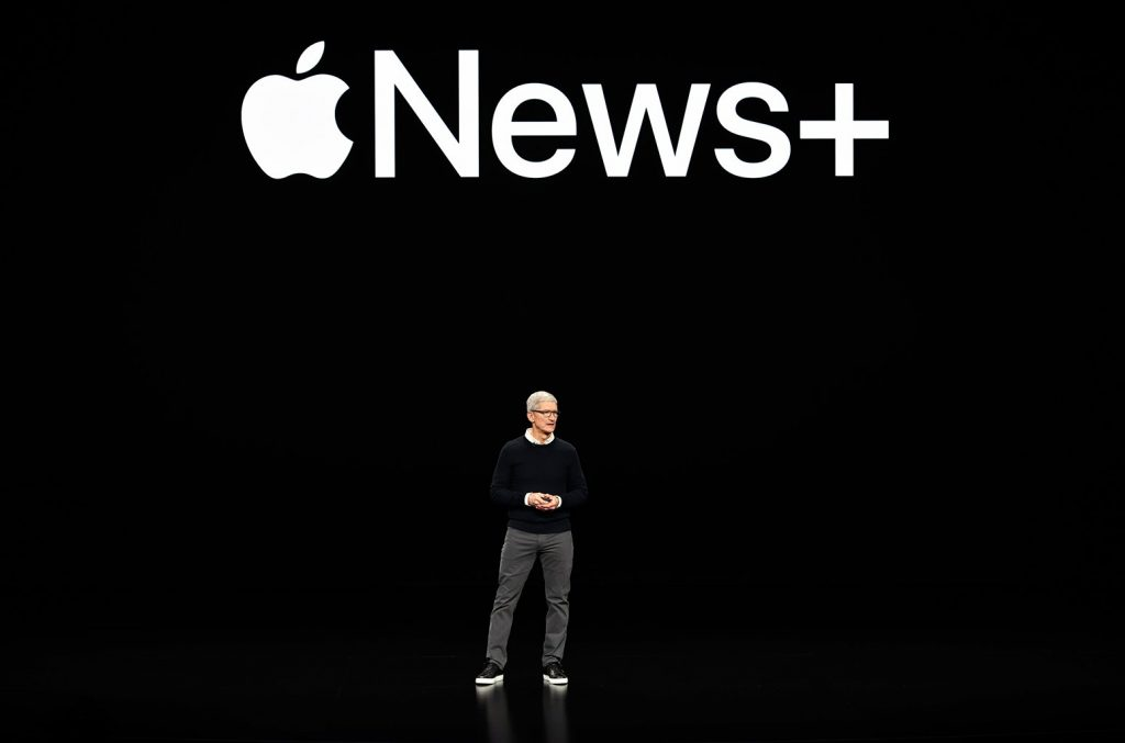 Tom Cook introduces Apple News+ in Apple's new event held on Monday.